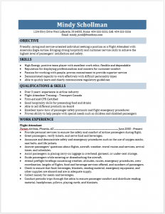 resume for flight attendant flight attendant resume
