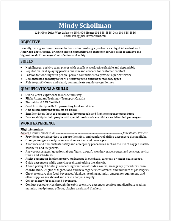 resume for flight attendant
