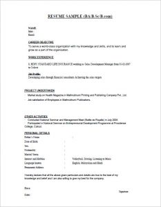 resume for freshers bsc fresher resume template