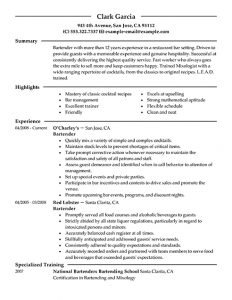 resume for waitress bartender resume template learnhowtoloseweight inside bartender resume skills template