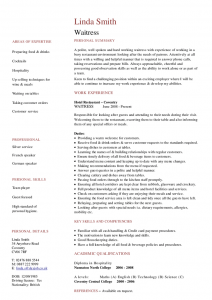 resume for waitress waitress cv