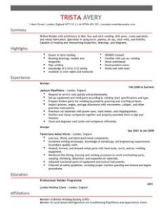 resume for waitress welder construction thumbnail resume