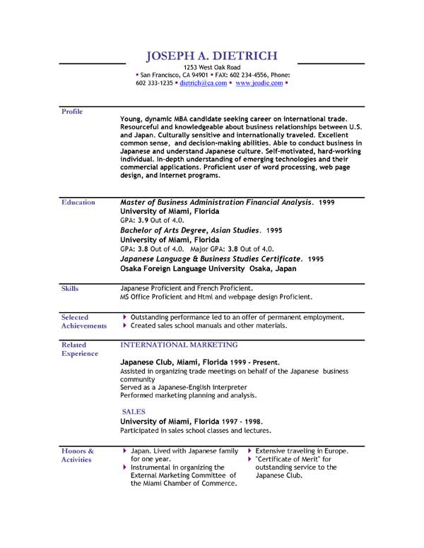resume format download