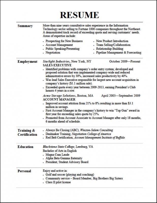 resume format for college students