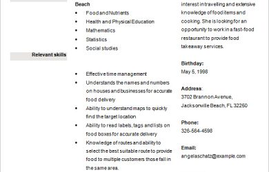 resume high school food delivery position resume for schoolt