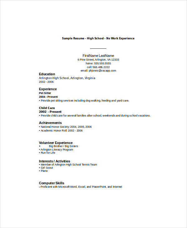 resume high school student