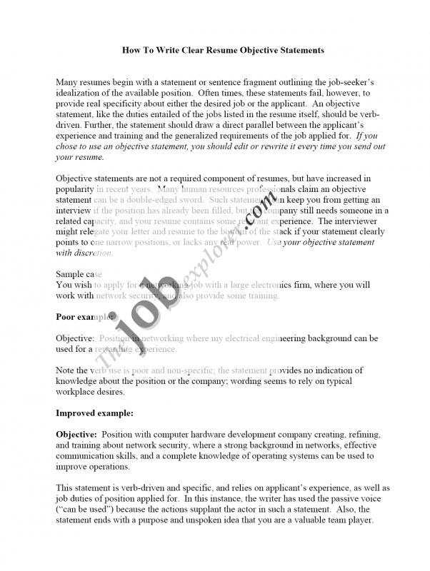 Resume Objective Sample  Effective Resume Objectives