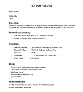 resume samples for freshers b tech fresher resume template
