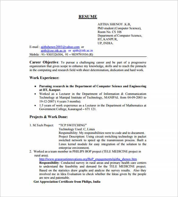 45 Fresher Resume Templates Pdf Doc: Resume Samples For Freshers