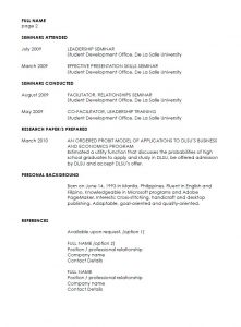 resume template college student example of resume in philippines