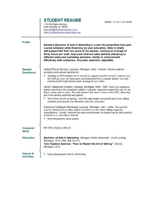 resume template for college student