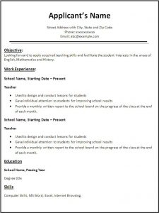 resume template for teaching teacher resume template