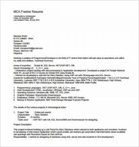 resume template pdf mca resume template for fresher pdf download min