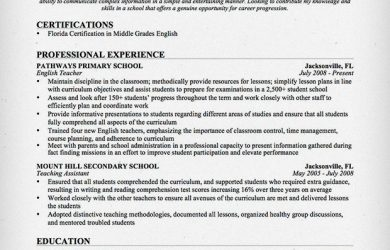 resume templates for teachers english teacher resume sample