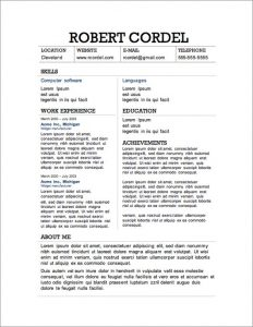 resume templates free download for microsoft word free resume template