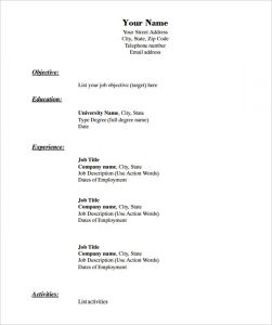 resume templates pdf blank resume template chronological format in pdf download