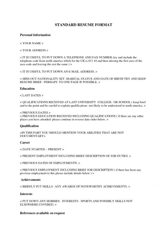 Resume Writing Template  Template Business
