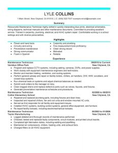 resumes examples for retail maintenance technician resume maintenance technician maintenance and janitorial lyle collins