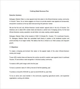 retail business plan clothing retail business plan