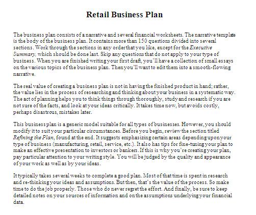retail business plan