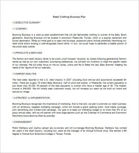 retail business plan retail clothing business plan free download