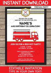 retirement party invitation template printable fireman invitation