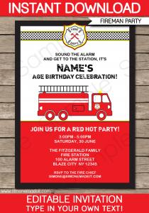 retirement party invitation template printable fireman invitation