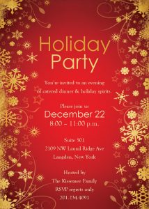 retirement party invitation templates holiday party invitation template red gold abstract