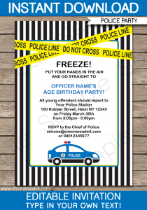 retirement party invitations templates printable police car party invitation template