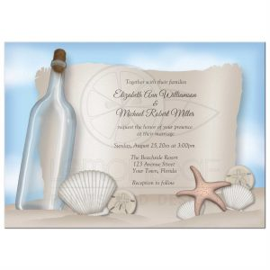 retirement party invite template rectangle message from a bottle beach wedding invitations