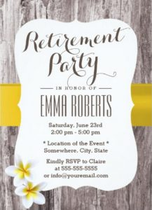 retirement party invite template classy frangipani wood background retirement party x paper invitation card