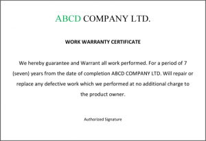 return policy template warranty certificate format