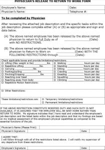 return to work doctors note template doctor note to return to work template free pdf