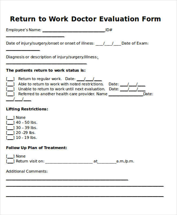 return to work doctors note template