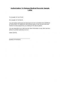 return to work with restrictions letter authorization to release medical records sample letter