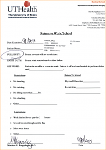 return to work with restrictions letter doctor note for work doctors note