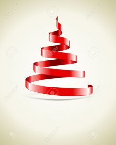 ribbon banner template christmas tree from red ribbon vector background stock vector spiral
