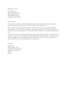rn resignation letter application and resignation letter