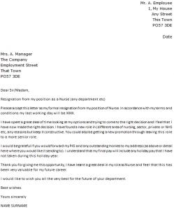 rn resignation letter nurse resignation letter