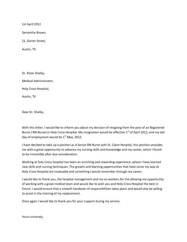 Rn Resignation Letter  Template Business
