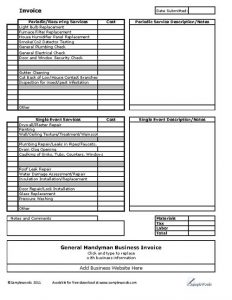 roofing estimate templates handyman invoice template