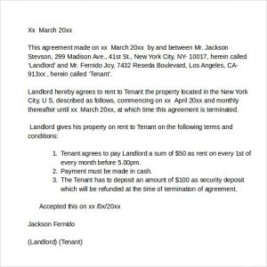 room leasing agreement rental agreement letter