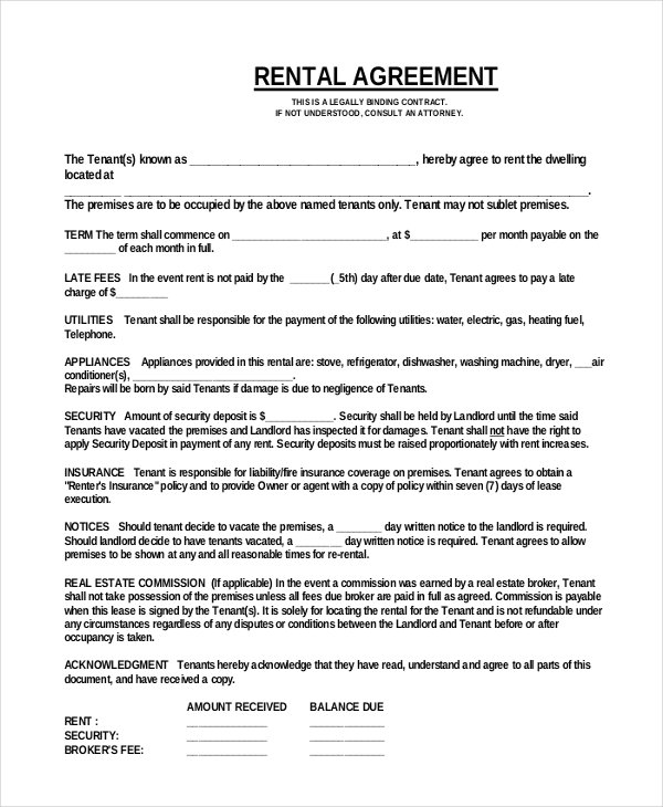 Room Leasing Agreement Template Business
