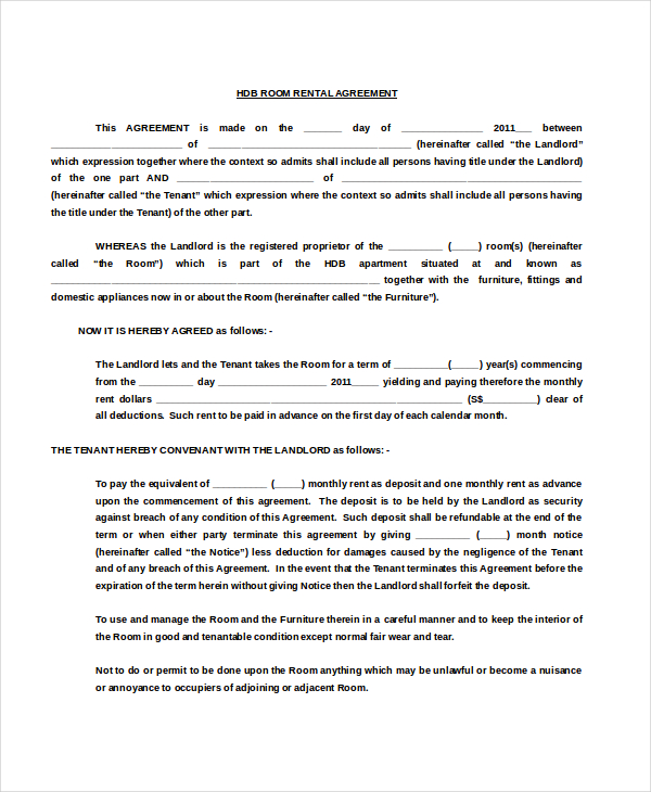 room rental agreement doc