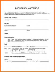 Room Rental Agreement Pdf | Template Business