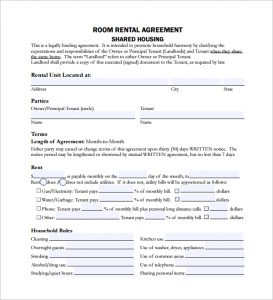 room rental agreement shared housing room rental lease agreement