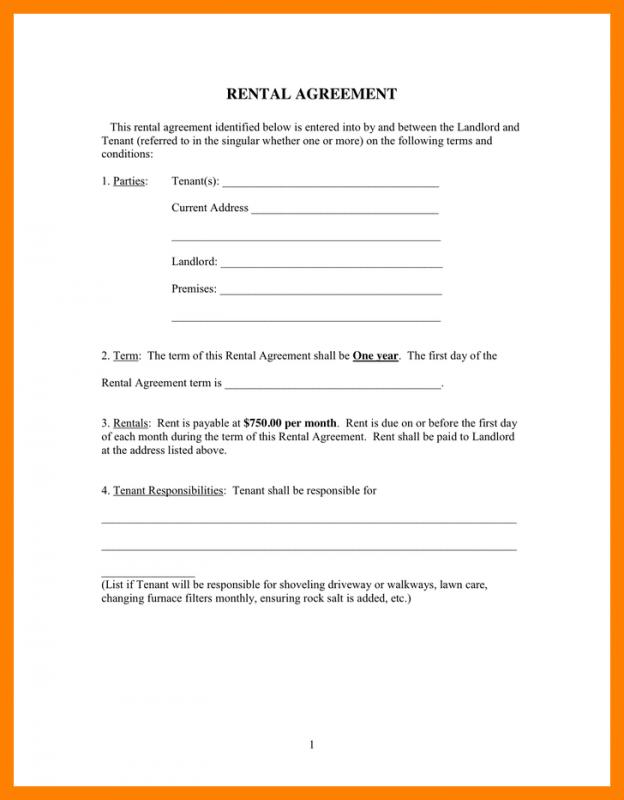 Room Rental Agreement Form Resume Template Sample