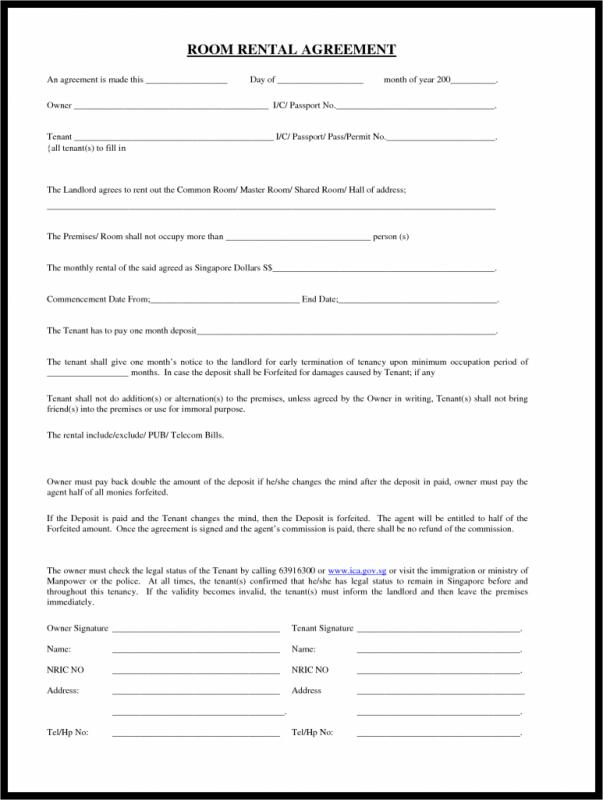 room rental lease agreement