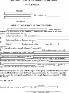 room rental lease agreement district of columbia affidavit of service by process server form