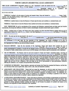 roommate agreement form nc residential lease